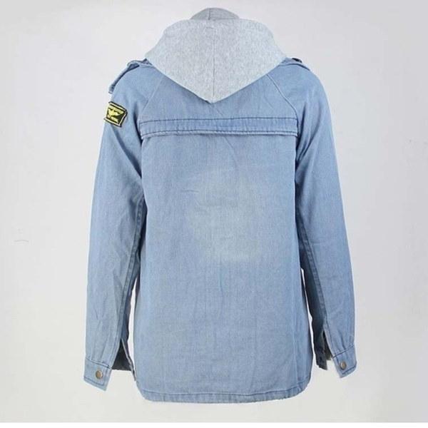 2017春秋の女性2ピースフード付きジーンズジャケットスーツプラスサイズルーズカジュアルデニムコート+スエー