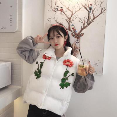 [55555SHOP]裏/秋冬/韓国風/若いもの/フラワーズ/花の刺繍/襟/短いスタイル/コットン/ベスト/女
