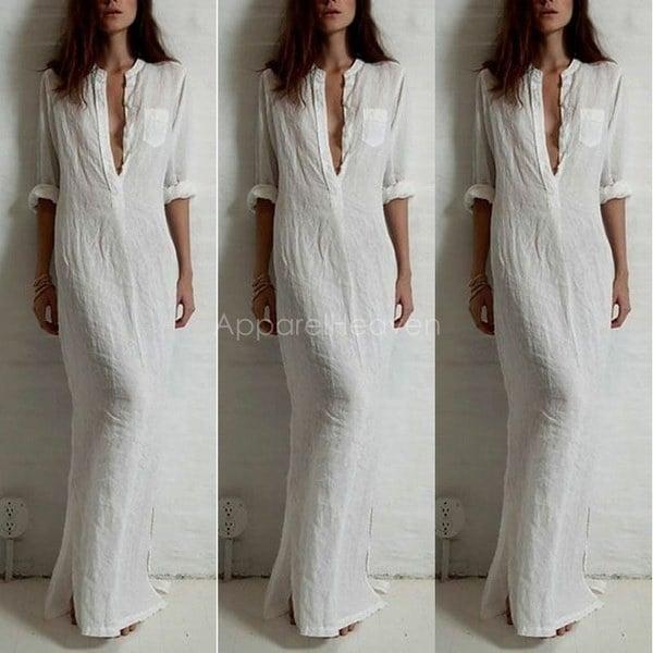 ファッション女性コットンリネンスプリットロングスリーブカクテルイブニングロングマキシドレス