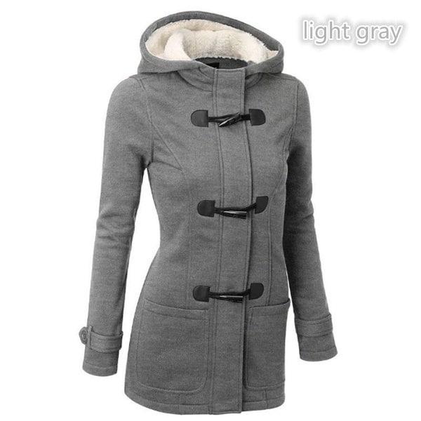 ファッションS-5XLウォームダブルブレストコートレディースウールジャケットコートパーカーパーカーホーンボタンマンタウフェム