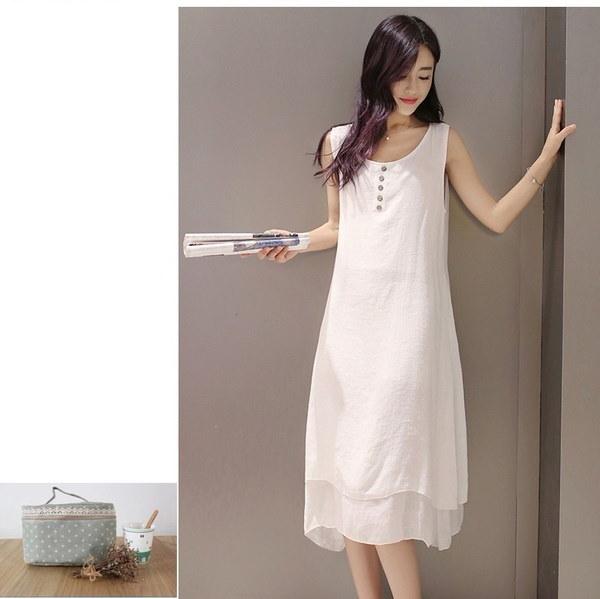 ヨーロッパとアメリカ女性のコットン2ピースレトロスーツドレス