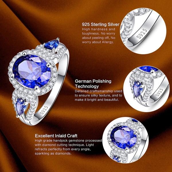 ファッションオーバルカットジュエリータンザナイト&ホワイトトパーズ宝石100%純粋な固体925スターリングシルバーリング