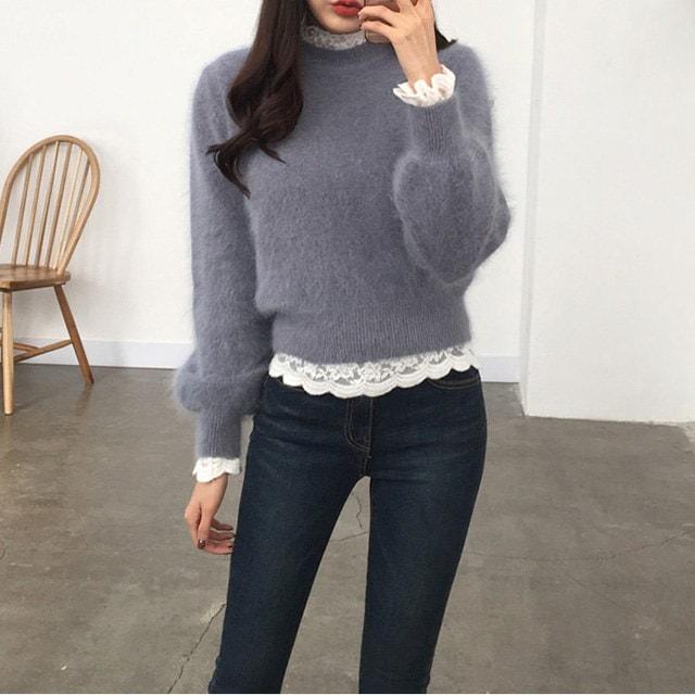 Balloon sleeve angora knit tee 12747 The Daily Look