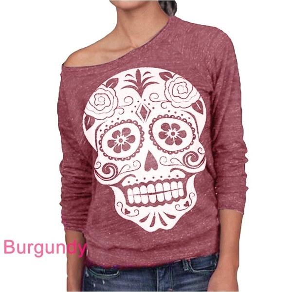 Women Fashion Slash Neck Sugar Skull Print Sweatshirt Long Sleeve T Shirt