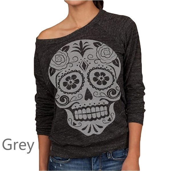 Women Fashion Slash Neck Sugar Skull Print Sweatshirt Long Sleeve T Shirt