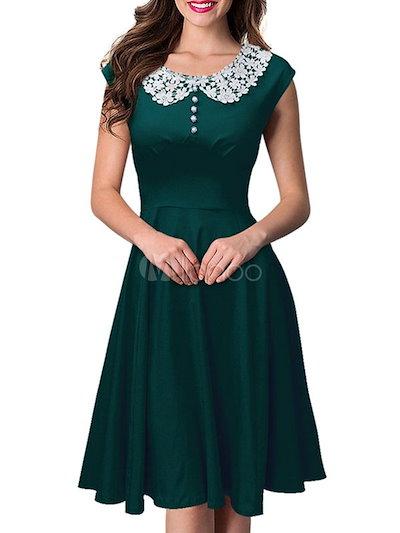 女性のためのピーターパンの襟プリーツポリエステルヴィンテージドレス