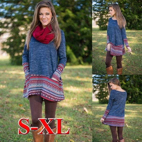 ファッション秋の冬のドレスレディースラウンドネックルースニットアウトウェア裾カフ印刷ロングスリーブd