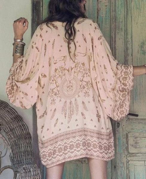 女性の女の子ロングスリーブボホイシフォンカーディガンルーズブラウスカバーアップ(ベージュ/ピンク/グリーン)(S / M / L / XL)