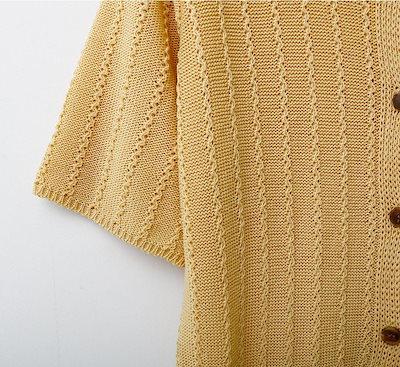 【】ニットカーディガン 半袖 レディース ニットトップス サマーニット ニットソー ストライプ編み 前開き