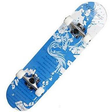 31インチ完全スケートボード標準スケートボード軽量メープル608ZZ-白黒い青色のパターン