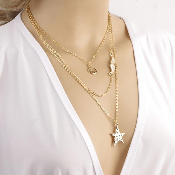 スタイリッシュなスタイルのスター天使の翼の木の多層ネックレス女性のファッションジュエリーギフト