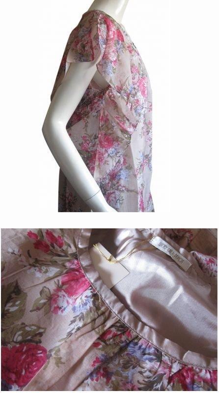 【arciale】コットンレーヨン素材の花柄バタフライ チュニックワンピース 2色 Mサイズ