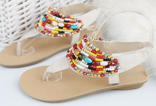 サンダル レディース  靴 ローサンダル ペタンコ ウェッジソールサンダル ストラップ ステキなビジューが可愛い ローマ風サンダル○ホワイト/ブラック2色★ニーズグループ