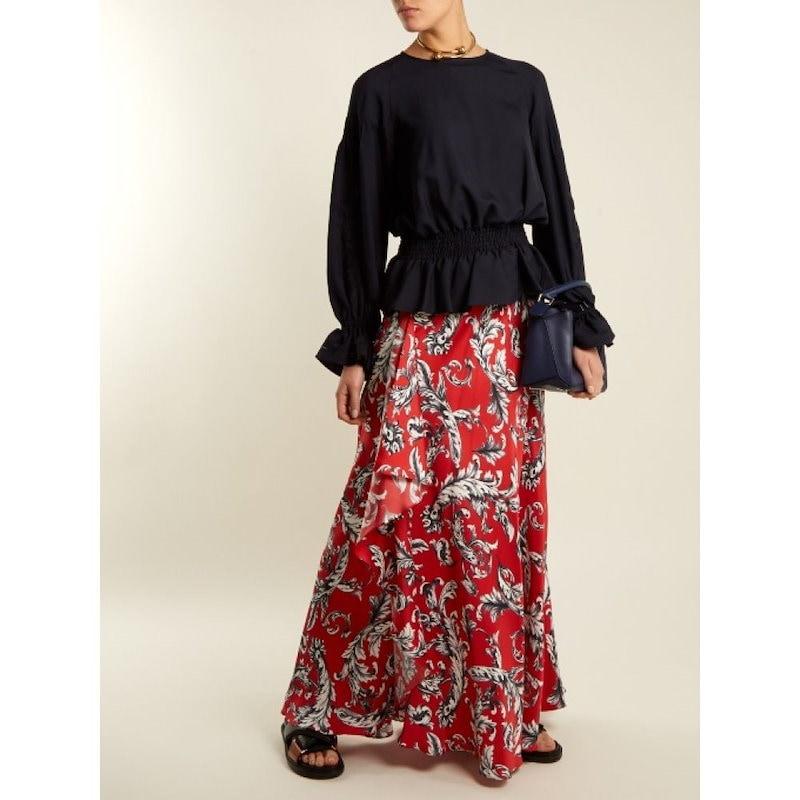 ミュベール レディース トップス ブラウス・シャツ【Embroidered-sleeved twill blouse】Navy