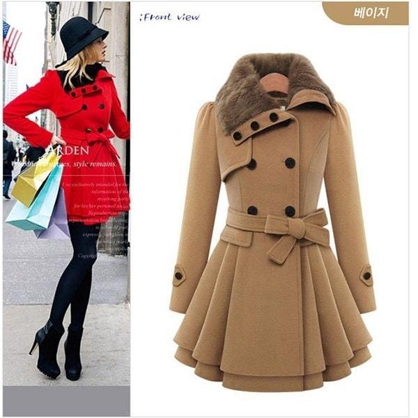 プラスサイズS  -  4XLファッション女性レディファーカラーピーコートPakaトレンチコートOLコート冬オーバーコートロング
