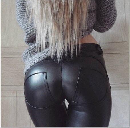 セクシーなスキニーレタージーンズハイウエスト全身ブラックパンツポケットパンツ