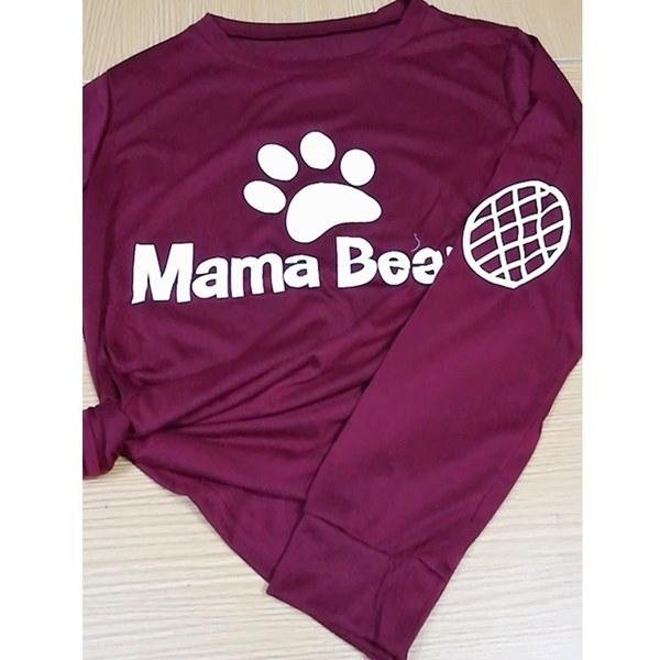 New 2017 Women MAMA BEARレタープリントエルボーグリッドプリントロングスリーブTシャツカジュアルプルオーバートップ