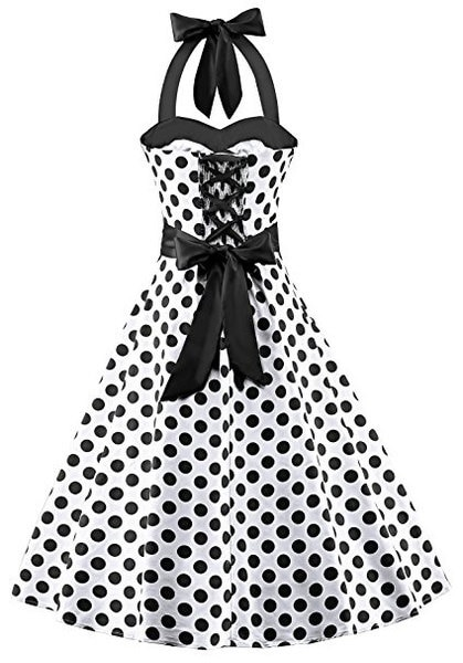 2017 Women s Fashion Polka Dot Print Party Dress Ladies Sexy Tunic Hepburn Dress(S-5XL)