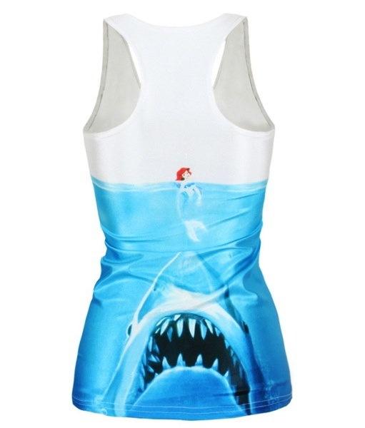 女性マーメイド戦争鮫骨格デジタル印刷Tシャツジャーキンランニングタンクトップワークアウトタンクトップ