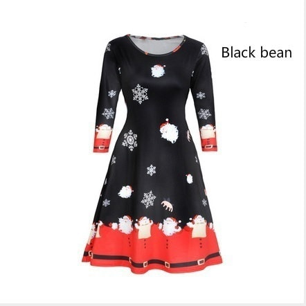 2017クリスマスファッションプリントドレスレディースロングスリーブサンタ衣装クリスマスコージースカートスウィングフロア