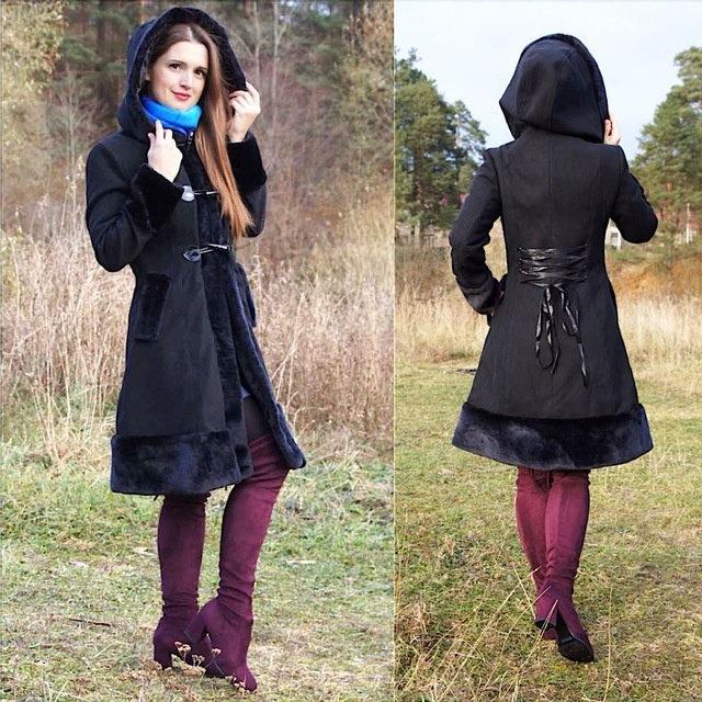 女性のトレンチコートコートスリムロングヴィンテージゴシックブラックウィンター中世(ビッグボンデッドフィットしていない女性)