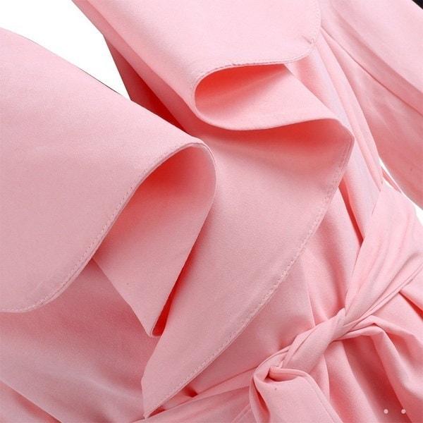 レディースロングスリーブダスタージャケットベルト付き純色トレンチコートロングアップフィギュア