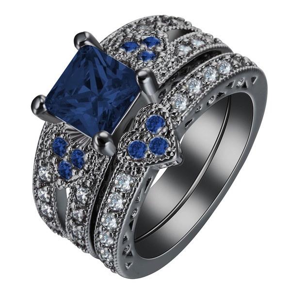 シャイニングファッション女性のジュエリーブラックゴールドキュービックジルコニア宝石結婚指輪セットSZ 7-9
