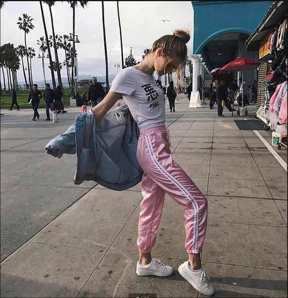 Women s Silk Satin Pajamas Pants Sport Casual Pink Pants