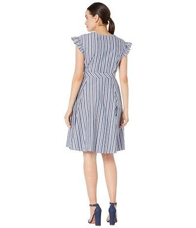 カルバンクラインカルバンクライン レディース ワンピース トップス Flutter Sleeve Cotton Stripe Dress