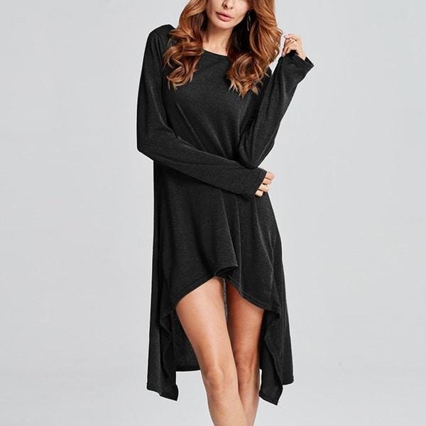シックな女性の長袖セーター不規則スカートオーバーサイズジャンパールーズプルオーバーロングトップスシャツ