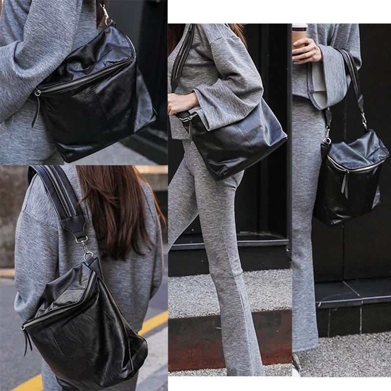 韓国ファッション女性ショーニーショルダーバッグブラックホワイトクロスボディーハンドバッグ2ストラップジッパースクール