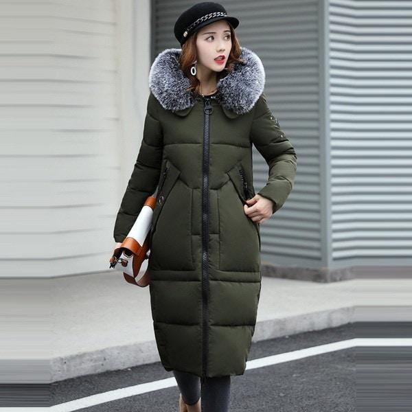 ファッションファーダウンジャケット女性のパーカーズウォームコート女性綿の服プラスサイズM  -  2X