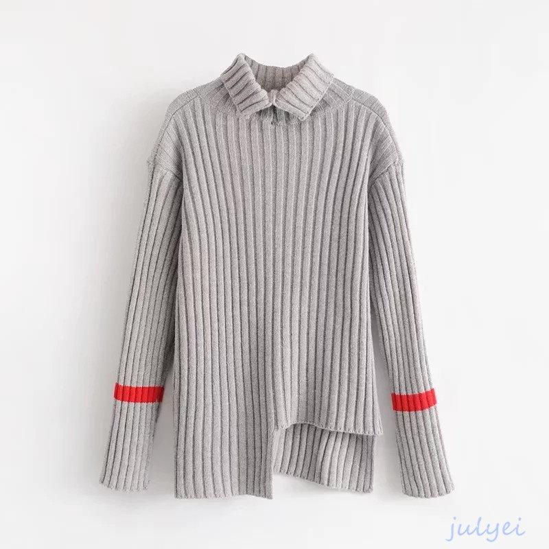 欧米風レディース  タートルネックセーター トップス 不対称裾 ニット 秋冬  長袖 お洒落 可愛い ゆるニット レディース