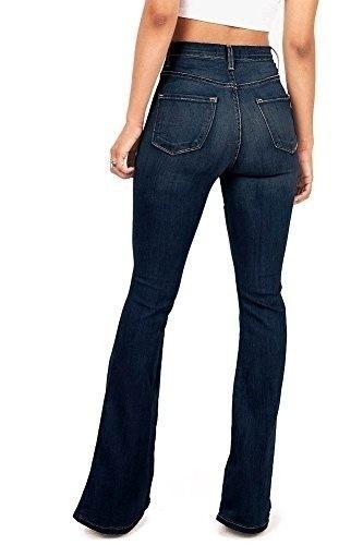 プラスサイズの女性ファッションカジュアルデニムパンツジュニアベルボトムハイウエストフィットデニムジーンズ女性