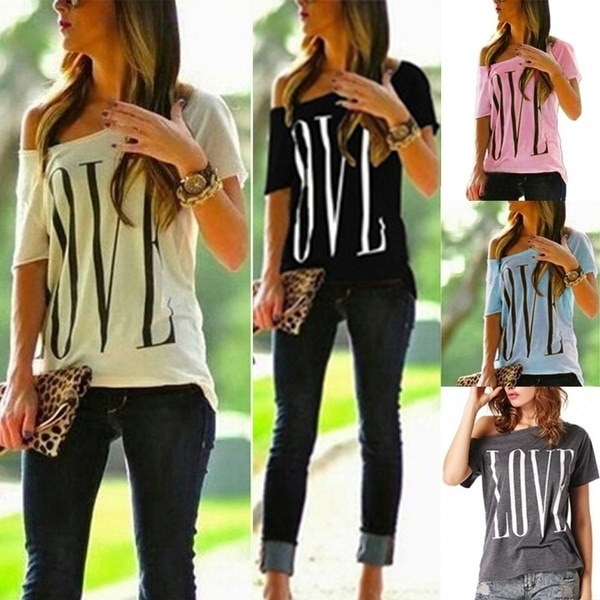 Woman And Girl Fashion Casual LOVE Letter Printed T-Shirt Blouse