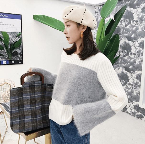 袖もこふわニット!「送料無料」シンプルニット セーター 袖もこふわ 暖かい ゆったり長袖 着心地満点 セーター 可愛い レディース 冬 愛らしいムード 2color [jfx334]