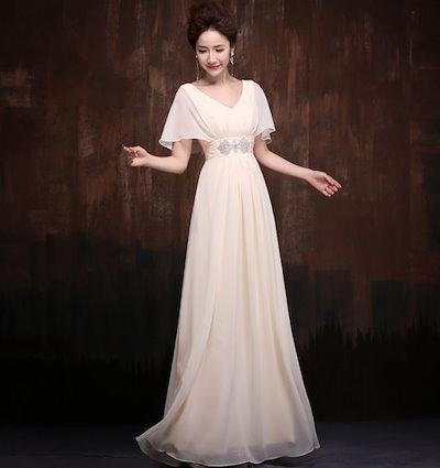 マキシ丈 ドレス ビジュー Vネック シフォン ケープ パーティー ドレスアップ スタイルアップ(B293)