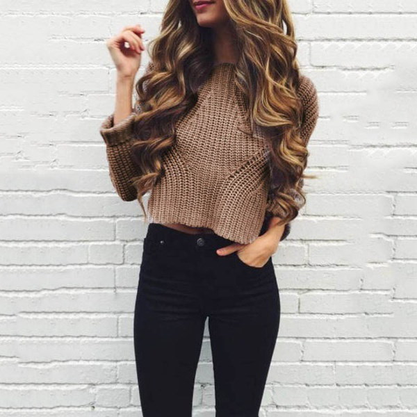 ファッションレディースOネックセーターカジュアルショートセーター