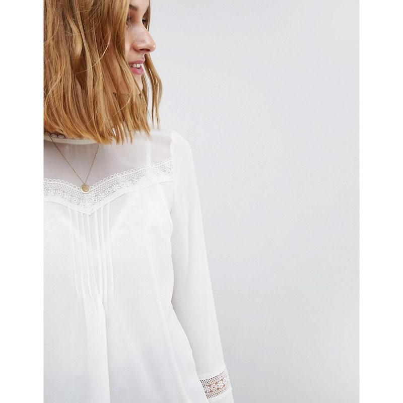 ウェアハウス レディース トップス【Warehouse Lace Insert Pleat Detail Top】Ivory