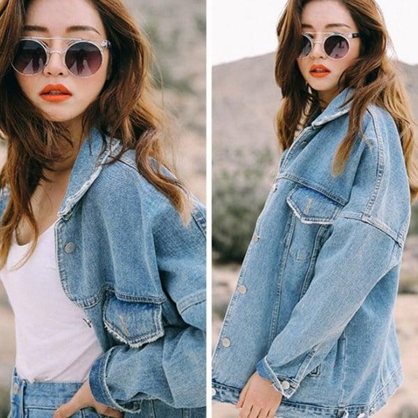レディースボーイフレンドルーズジャケットカジュアルデニムジーンズコートアウターウェア韓国語