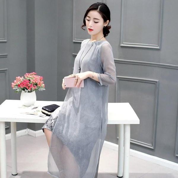 2017新しい夏の秋の女性コットンリネンロングドレス不規則なフォークアートインクプリントカジュアルプラスサイズ