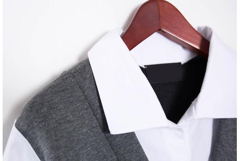 『韓国製』 Modern layer ワンピース「大きいサイズ 大人・結婚式・ 黒 フレア・ママワンピ・黒Aライン、シャツ・コットン フォーマル