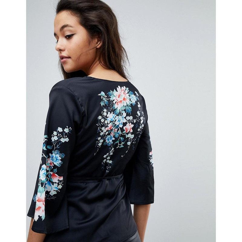 ファッションユニオン レディース トップス ブラウス・シャツ【Fashion Union Kimono Blouse With Floral Printed Sleeves】Black