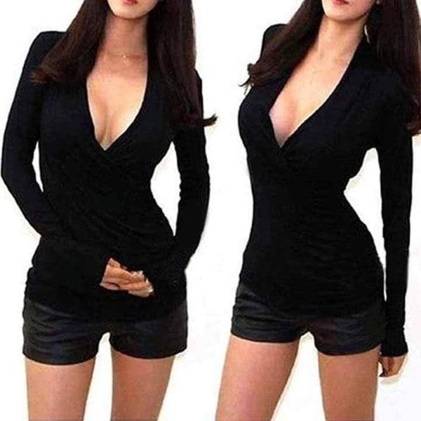 女性のセクシーなファッションスリムフィットコットンVネックトップスロングスリーブシャツカジュアルブラウス