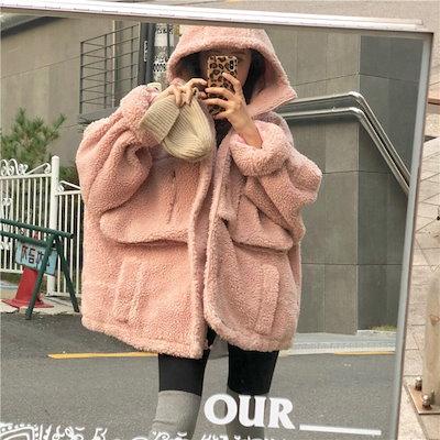 ボアコート フード モコモコ ピンク 可愛い アウター 冬 防寒 女子力UP あったか ジャケット A00349