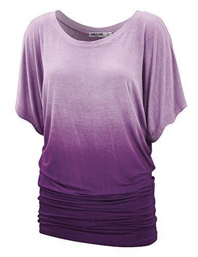 女性のファッションプラスサイズ半袖Oネックグラデーションカラー原因ルーズトップWZC6557