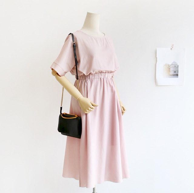 [B30315]夏半袖ウエストバンディングフレアロングリネンリネンワンピースデイリールックkorea women fashion style