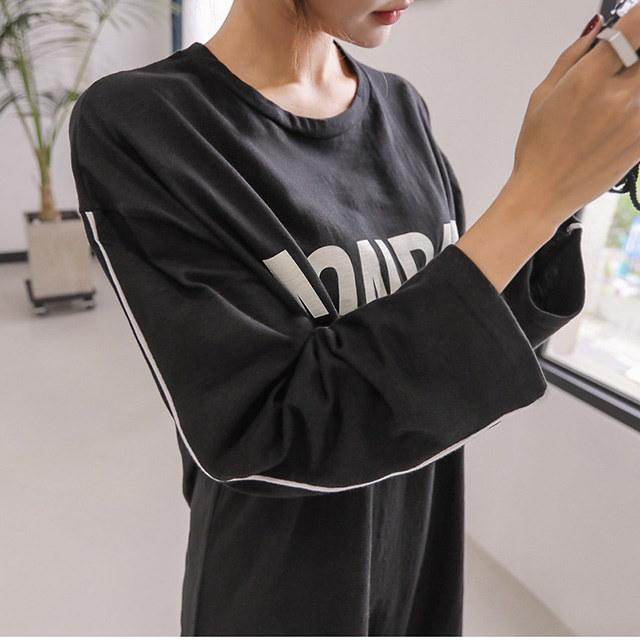 ルースフィット袖のラインプリンティングロング秋ホームウェアルックワンピースデイリールックkorea women fashion style