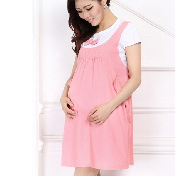 Summer Maternity Dress Bow Clothes For Pregnant Women Pregnancy Clothing Nice