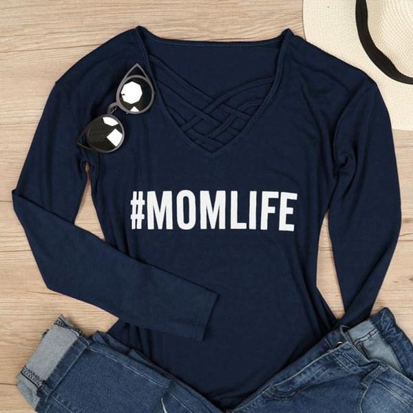 春の新婦人ママのライフクリス - 長袖Tシャツを印刷するクロスレタートップ